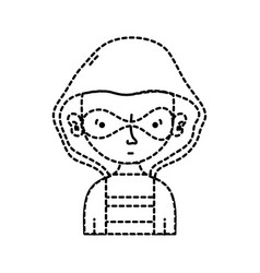 Dotted shape thief criminal with mask and coat vector