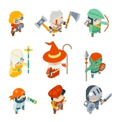 Fantasy RPG Game Characters Isometric Icons vector