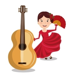 Flamenco dancer with guitar isolated icon design vector