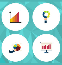 flat icon graph set of pie bar segment graph and vector image