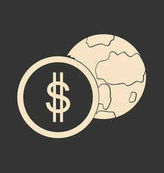 Flat in black white earth and coin vector