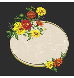 Flowers and dark frame vector
