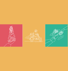 food delivery concept lineart set in vector image