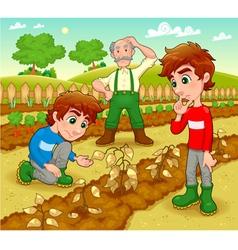 Funny scene in the vegetable garden vector