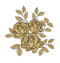 Golden rose flowers and leaves on white vector
