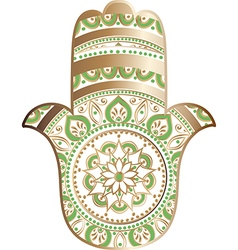 Golden white hamsa vector