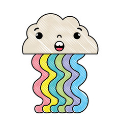 Grated surprised cloud kawaii with cute rainbow vector