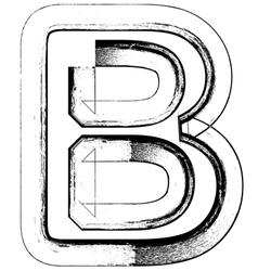 Grunge Font letter B vector image