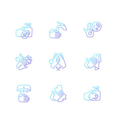 Hand washing steps gradient linear icons set vector