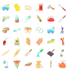 Handicraft production icons set cartoon style vector