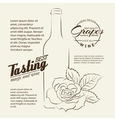 Handwritten wine tasting sign vector