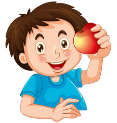 happy boy with apple vector image