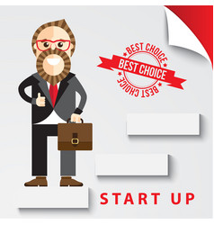 Happy businessman start up thumb up vector