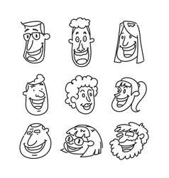 happy face cartoon doodle vector image