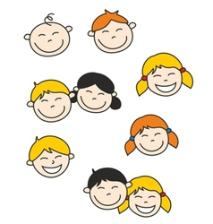 happy kids and baisolated on white background vector image