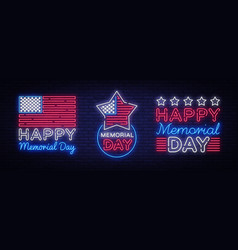 happy memorial day collection neon signs neon vector image