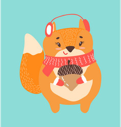 happy squirrel with acorn icon vector image