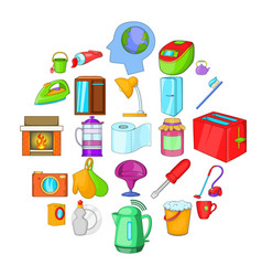 Kitchen cleaning icons set cartoon style vector