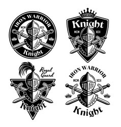 Knight set medieval thematic emblems vector