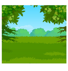 landscape with forest on the horizon and green vector image