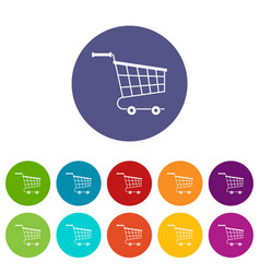 Large shopping trolley icons set flat vector