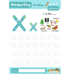 Letter x uppercase and lowercase tracing practice vector