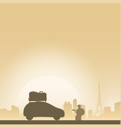 Man with hat playing guiter and car with lugguage vector