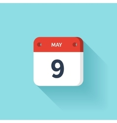 May 9 Isometric Calendar Icon With Shadow vector