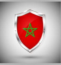 morocco flag on metal shiny shield collection vector image