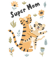 Mother and baby cute tigers vector
