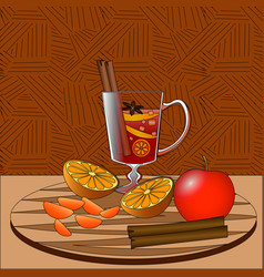 Mulled wine with fruits and spices on wooden tray vector