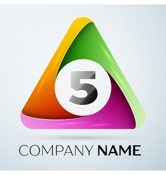 Number five logo symbol in the colorful triangle vector image