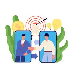 Online agreement cartoon business partners vector