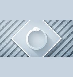 Paper cut magic symbol ouroboros icon isolated vector