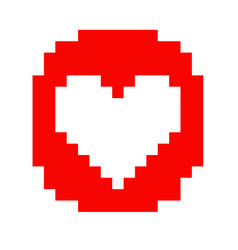 pixel art heart love color icon valentine set vector image