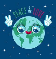 Planet earth in kawaii style vector