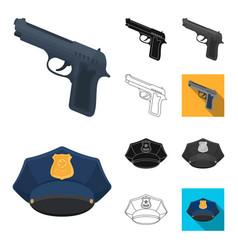 police department cartoonblackflatmonochrome vector image