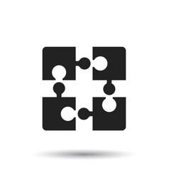 puzzle icon flat on white background vector image