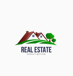 real estate roofs house landscape logo vector image