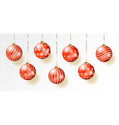 Red christmas balls on gift bows isolated on vector