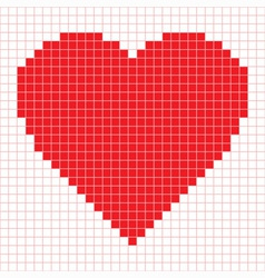Red pixel heart vector