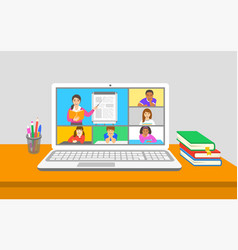 Remote learning virtual class kids teleconference vector