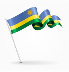 Rwandan pin wavy flag vector