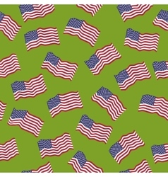 seamless pattern American flags on green vector image