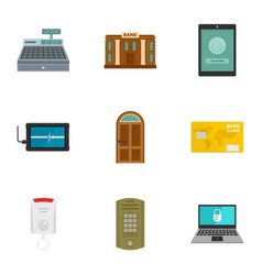 Secured money icon set flat style vector