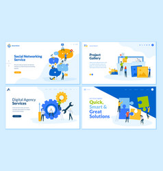 set flat design web page templates vector image