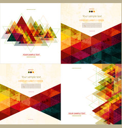 set four colorful abstract geometric background vector image
