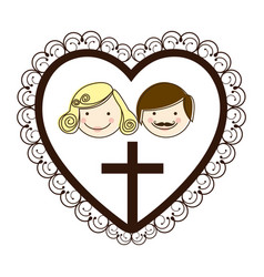 Silhouette heart decorative frame with couple and vector