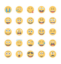 smiley flat icons set 10 vector image