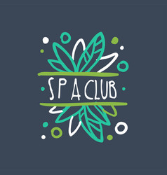 Spa club logo emblem for wellness yoga center vector